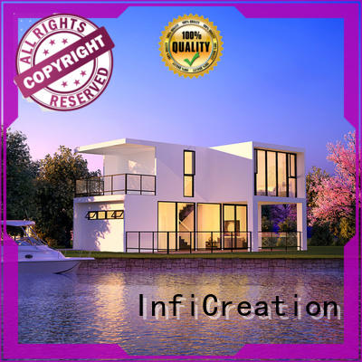 InfiCreation steel prefabricated cottages designer for hotel